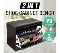 15 Pair Shoe Cabinet Wooden Storage Bench Footwear Stand w/ PU Cushion Seat