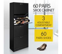 60 Pair Shoe Cabinet 4 Rack Wooden Home Footwear Storage Stand - Black