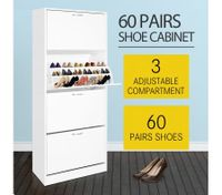 60 Pair Shoe Cabinet 4 Rack Wooden Home Footwear Storage Stand - White
