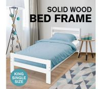 New King Single Bed Frame Pine Wood Bedroom Furniture for Adult Kid White