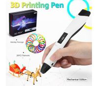 Ailink 3D Printing Pen Drawing Gift with Shovel & 20 PCS Filaments & Protective Fingertips - White
