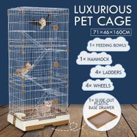 Multi-layer Cat Cage Luxurious Wire Pet House Crate with Wheels - Brown