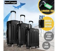 3 Piece Luggage Sets Hard Shell Lightweight Spinner Suitcase Trolley w/TSA Lock - Black