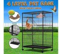 4 Levels Powder Coated Frame Pet CAT Home Cage with Bottom Lock