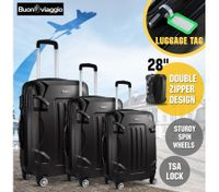 Hard Shell Lightweight Spinner Suitcase 3 Piece Luggage Sets Trolley w/ TSA Lock - Black