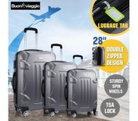 Hard Shell Lightweight Spinner Suitcase 3 Piece Luggage Sets Trolley w/ TSA Lock - Grey