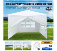 OGL 3M x 3M Party Wedding Outdoor Tent Gazebo Canopy Events Pavilion w/3 Sidewalls and 1 Door