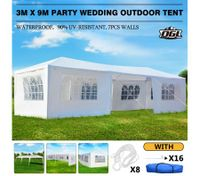 OGL 3M x 9M Party Wedding Outdoor Tent Canopy Gazebo Pavilion Events Canopies w/7 Removable Walls
