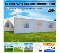 OGL 3M x 9M Party Wedding Outdoor Tent Canopy Gazebo Pavilion Events Canopies w/6 Removable Walls and 2 Doors