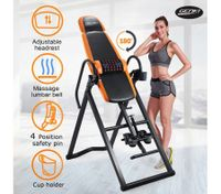 Adjustable Inversion Table Foldable Massage Gravity Back Inverter w/PVC Mat & Heavy-Duty Steel Frame