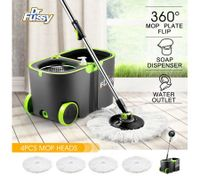 360 Degree Spin Rotating Mop and Bucket Set w/ Wheels and 4 Microfiber Mop Heads