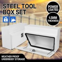 Under Tray Tool Box Pair Steel Tool Boxes Rubber Seal Trailer Box Ute Tool Boxes with Stainless Steel Lock
