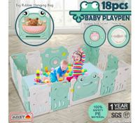 ABST 18 Sided Panel Baby Playpen Interactive Kids Safety Gates Child Barrier - Frog Design
