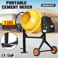 130L Portable Cement Mixer Electric Waterproof Heavy-Duty Concrete Mixer w/Double Blades