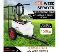 60L ATV Weed Garden Sprayer w/4 Nozzle Boom 130PSI Pump Trailer Tank