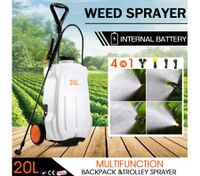 20L Weed Garden Wheel Backpack Sprayer w/4 Nozzle Pump Tank Hose Lance Belt