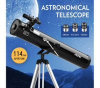 Astronomical Telescope Aperture 114mm 675x Zoom w/ Tripod - Black