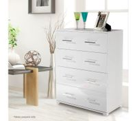 High Gloss 4 Drawer Tallboy Cabinet - White