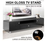 Modern High Gloss TV Stand Cabinet - Black
