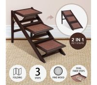Petscene 2-in-1 Dog Cat Stairs Foldable 3 Steps Pet Ramp Wooden Doggy Ladder