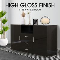High Gloss 2 Door 3 Drawer Buffet Cabinet - Black