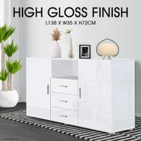 High Gloss 2 Door 3 Drawer Cabinet - White