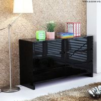 High Gloss Six Drawer Cabinet - Black