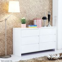 High Gloss Six Drawer Cabinet - White