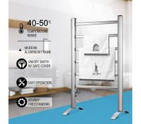 Maxkon 6 Bars Heated Towel Rail Warmer Electric Freestanding Bathroom Drying Rack