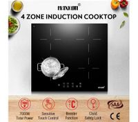 60cm 4 Zone Electric Induction Cooktop Hob Touch Control Timer 7000W