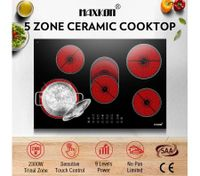 5 Zone Electric Ceramic Cooktop Hob Touch Control Timer Child Lock 8500W