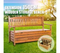1.5M 3 Seat Wooden Outdoor Garden Storage Bench Chair Box Chest Furniture Timber