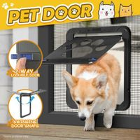 2 Way Locking Dog Cat Pet Secure Brushy Flap Door