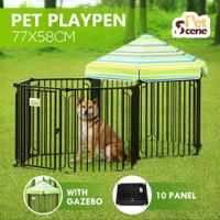 10 Panel Pet Dog Playpen Puppy Crate Exercise Cage Enclosure w/ Gazebo Cover