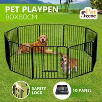 10 Panel Pet Dog Playpen House Puppy Crate Exercise Fence Cage Enclosure - Black