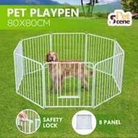 8 Panel Pet Dog Playpen House Puppy Crate Exercise Fence Cage Enclosure - White