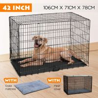 "42"" Dog Crate Kennel collapsible Metal Pet Cat dog Cage"