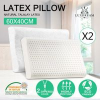 2 x Contour Natural Latex Foam Pillow w/ Plush Velour Cotton Zip Cover