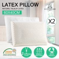 2 x Natural Latex Foam Pillow w/ Plush Velour Cotton Zip Cover