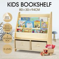 4-Level Kids Wood Bookshelf Bookcase Canvas Sling Toy Storage Organizer Display Shelf w/2 Bins