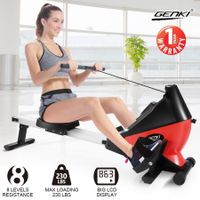 Genki Rowing Machine Magnetic Fitness Exercise Equipment Home Workout Rower - Red