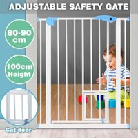 100cm Tall Baby Safety Security Gate Adjustable Pet Dog Stair Barrier w/ Cat Door