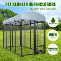 Pet Dog Kennel Puppy Run Play Pen Exercise Fence Complete Enclosure 2.4x1.2x1.8m