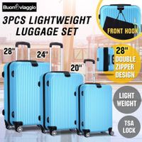 3 Piece Expandable Spinner Luggage Suitcase Set w/TSA Lock - Wathet Blue