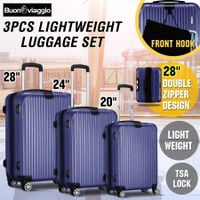 3 Piece Expandable Spinner Luggage Suitcase Set w/TSA Lock & Hook - Dark Blue