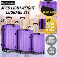 3 Piece Expandable Spinner Luggage Suitcase Set w/TSA Lock & Hook - Purple