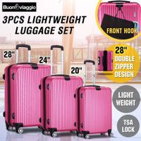 3 Piece Expandable Spinner Luggage Suitcase Set w/TSA Lock & Hook - Rose  Red
