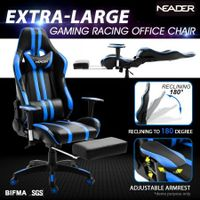 Ergonomic Office Computer Chair PU Leather Sport Gaming Race Seat w/ Footrest - Blue & Black