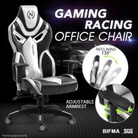 Ergonomic High Back Gaming Racing Chair PU Leather Computer Sport Race Seat - Grey & Black