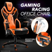 Ergonomic High Back Gaming Racing Chair PU Leather Computer Sport Race Seat - Orange & Black